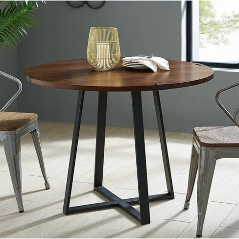 40 Urban Industrial Round Dining Table With Faux Wrap Leg