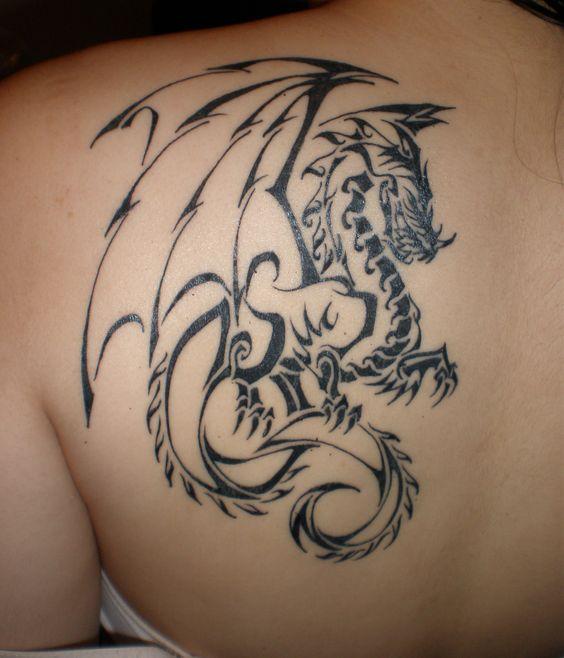Tribal Dragon Tattoo Design Idea - http://tattooideastrend.com/tribal-dragon-tattoo-design-idea/ -