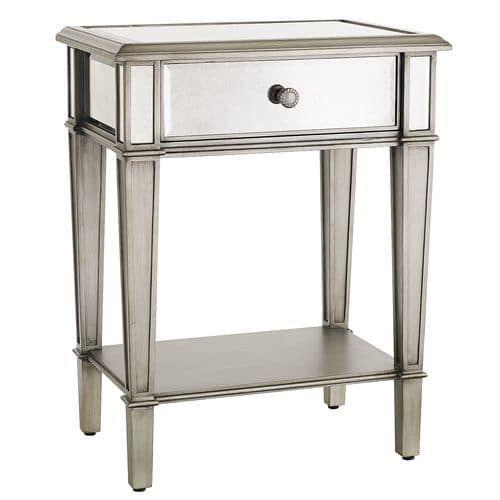 Hayworth Mirrored Silver Nightstand Mesa Con Espejo Muebles Con Espejo Espejos Para Habitacion
