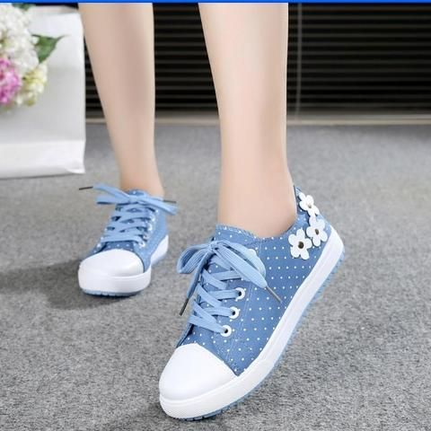 US Wome Casual Denim Sneakers Slip On Flat Trainers Ripped Canvas Loafers Shoes