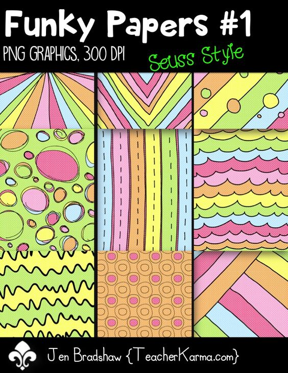 Inspired by Dr. Seuss!  Funky Papers clip art for your classroom!  CU OK.  TeacherKarma.com