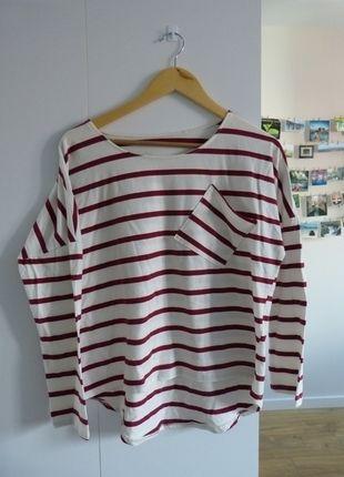 Compra mi artículo en #vinted http://www.vinted.es/ropa-de-mujer/blusas-de-manga-larga/271832-camiseta-blanca-con-rayas-granates
