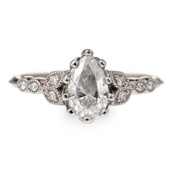 1 Carat Diamond Vintage Clover Setting, 14k White Gold - Point No Point Studio - 1