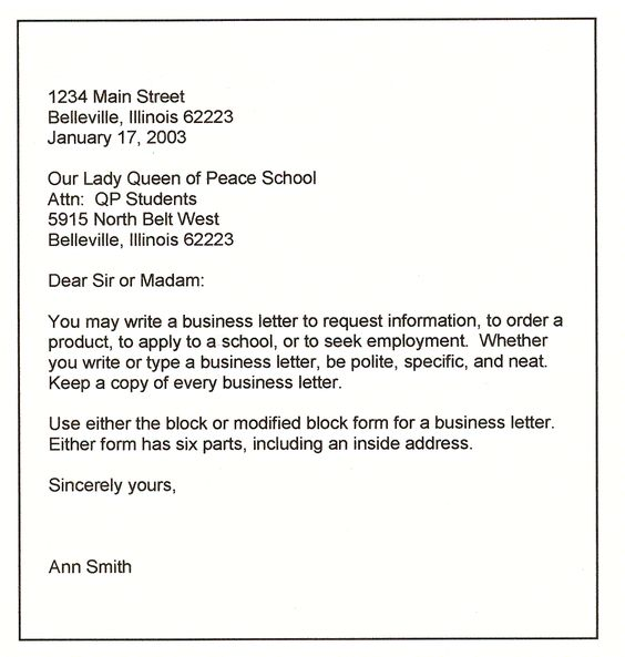 business letters conform to generally one of four