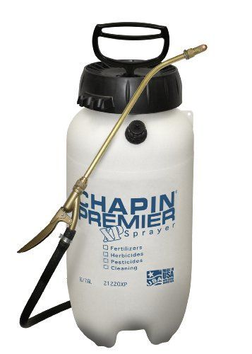 Chapin 21220 Premire 2-Gallon Pro Poly Sprayer by Chapin. $54.82. Dry hands pressure relief valve. Brass wand and nozzle. Premier Poly 2-gallon sprayer. Sure spray anti-clog filter. 4-inches easy filling large opening. From the Manufacturer                Premier Pro Plus poly sprayer - 2-Gallon. anti-clog filter on the bottom of outlet tube to prevent clogging. easy filling and cleaning. four position nozzle. viton seals and gaskets.                                    P...