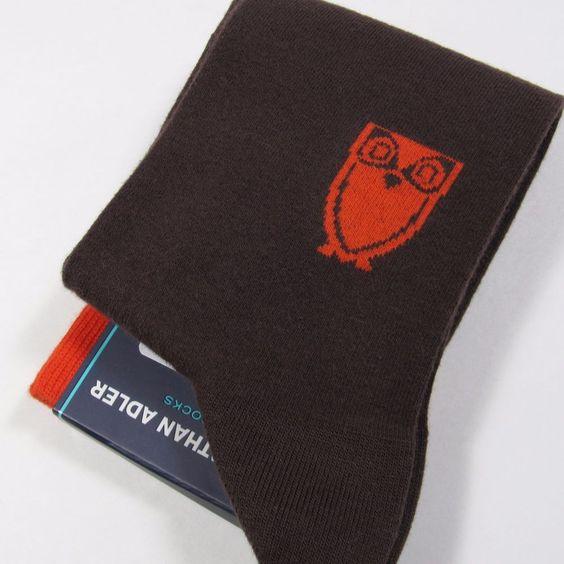 "JONATHAN ADLER Men's Socks with ""OWL"" Emblem CHOCOLATE BROWN/ORANGE One Size NWT #JonathanAdler #Dress"