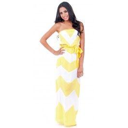 Yellow Chevron Strapless Maxi Dress $34.99