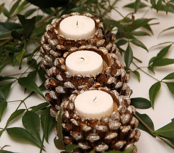 Pine Cone candle holders Centerpiece www.tablescapesbydesign.com https://www.facebook.com/pages/Tablescapes-By-Design/129811416695: