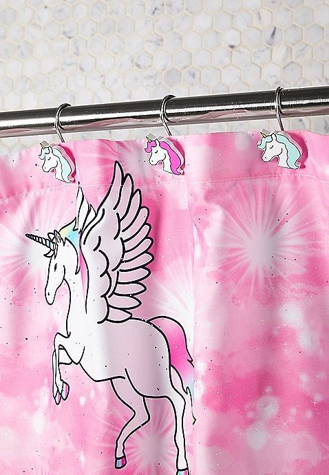 Unicorn Bathroom Shower Curtain Set Accessories Toilet Cover Hooks