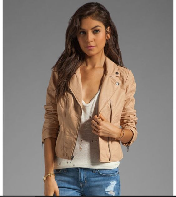 light tan leather jacket with white shirt and blue jeans- LOVE