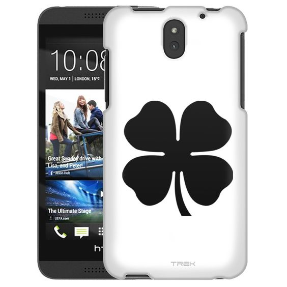 HTC Desire 610 Silhouette Four Leaf Clover Irish Ireland on White Slim Case