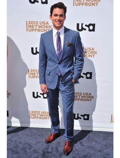 Actor Matt Bomer wearing a blue suit   SUITS make the MAN