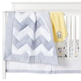 Circo® Sweet Chevron 4pc Baby Bedding Set. Like the quilt and bedskirt.