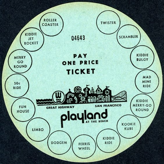 SAN FRANCISCO PLAYLAND AMUSEMENT PARK~VINTAGE 1960s UNIQUE MULTI-USE RIDE TICKET #VintageTicket