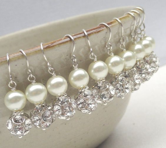Set Of Five 5 Pearl And Rhinestone Bridal by Alwaysabridesmade, $100.00