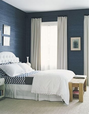 blue bedroom - i love those blue walls - there're the perfect shade of blue