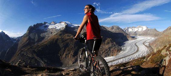 Mountainbiken am Aletschgletscher