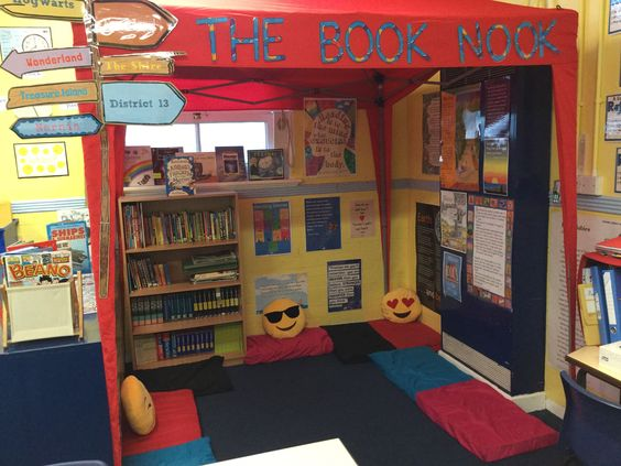This was my Year 6 Book Nook. The kids loved it!  The gazebo was rather expensive at £53 but luckily the Headteacher was feeling generous that day. :-). I bought the Emoji cushions myself at £4.50 each from e-bay.  The cushions are an old mattress topper test I cut up and I bought the pillow slips from Argos for £2.00 for a pack of two.