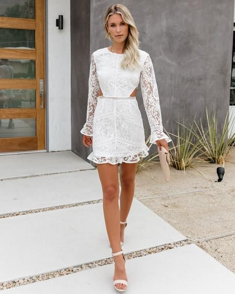 Lace Vici Short Mini Dress Long Sleeve Lace Cutout Dress White Lace Mini Dress Lace Cutout