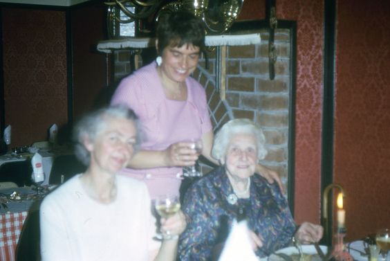 "pic 58. Trip to England with Hubby Derek.  In an Englsh Pub with Derek's sister, Muriel on the left, Hannelies in the middle and ""Mother"" on the right.  I am sure Derek is behind the camera.  1973.  Her Age: 46"
