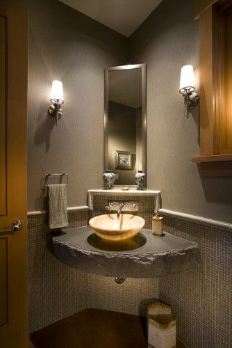 Corner sink sinks and bathroom on pinterest - Small powder room sink ...