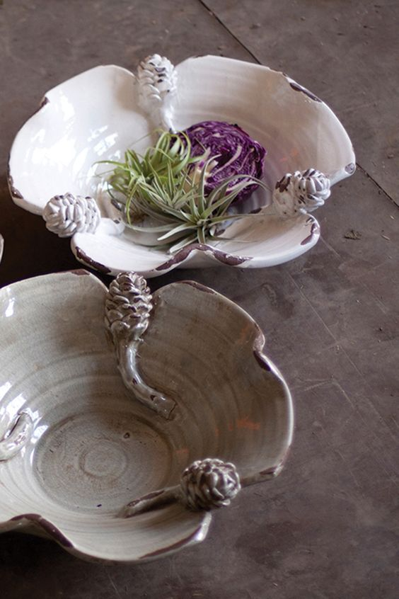 ceramic pinecone bowl / white