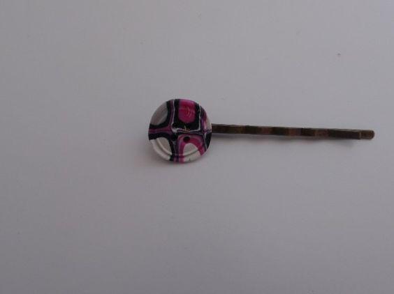 barrette cheveux épingle en fimo forme de bouton gris rose blanc noir : Accessoires coiffure par fimo-loucleo