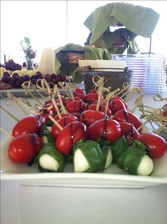 Tomato Basil Mozzarella Skewers as a stationary hors d'oeuvre