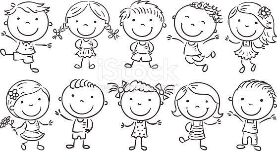 Ten Happy Cartoon Kids Black And White Outline Happy Cartoon Kids Doodles Cartoon Kids