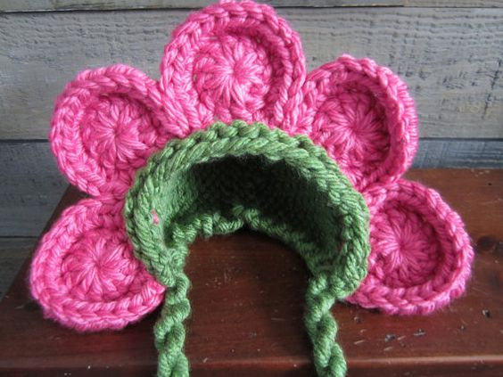 Newborn Baby Girl Photo Prop Flower Hat by MitziKnitz on Etsy, $28.00