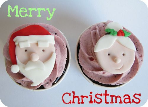 Christmas cupcakes featuring Mrs. and Mr. Santa Claus