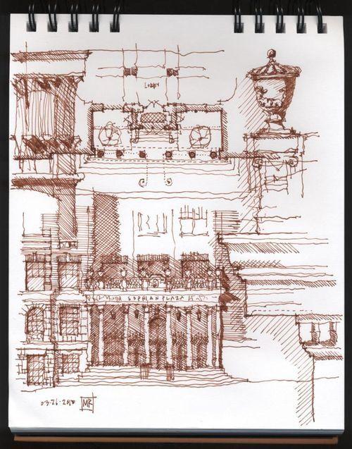 Sophian Plaza. A lovely Sketch Analytique by Michael John Ray