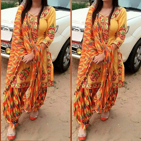 Summer Shalwar Kameez Designs printed yellow outfit