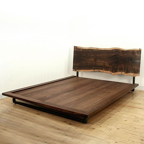 Headboards raw beauty and slab of wood on pinterest for Raw wood bed frame