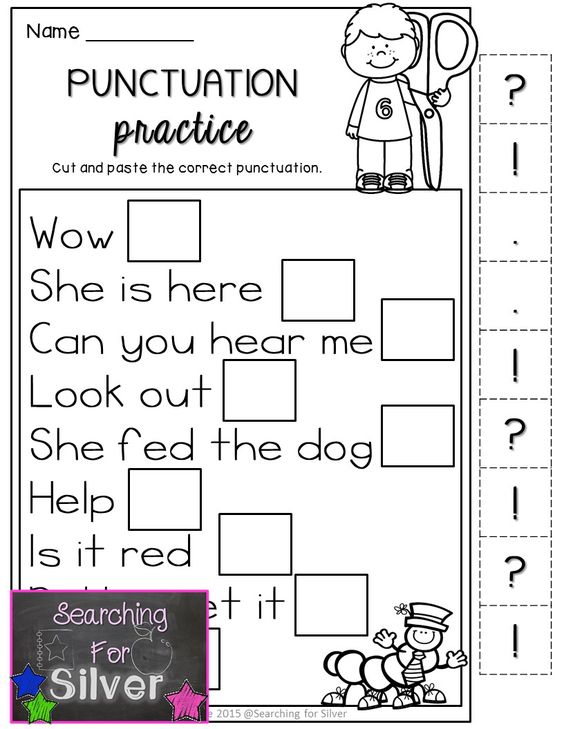 kindergarten capitalization and punctuation worksheets