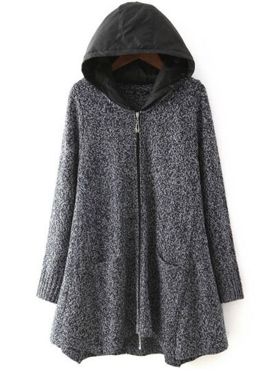 Grey Hooded Long Sleeve Loose Sweater Coat