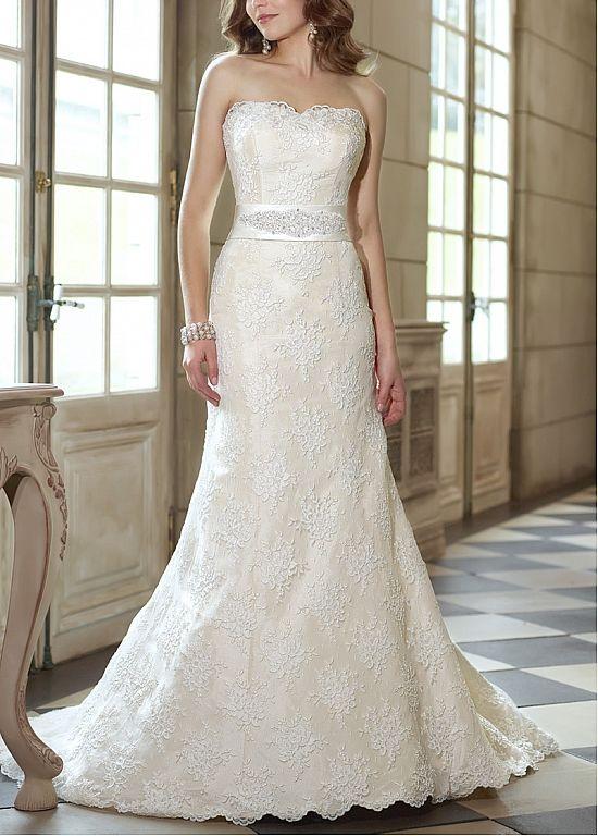 330 Dressilyme Stylish Alencon Lace Amp Satin Sheath Strapless Natural Waist Beaded 2013 Wedding