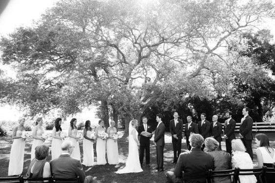 Sweetgrass Social wedding at Alhambra Hall. Erika & Sergio. Black and white picture of wedding ceremony.