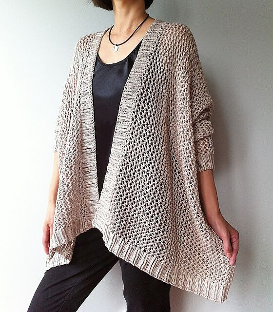 Knit cardigan-shawl pattern