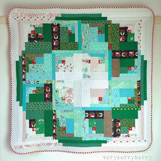 Log Cabin Wreath quilt by Kerry Green at Very Kerry Berry.  The pattern by Jessie Fincham was published in Quilt Now, Issue 4, 2014.