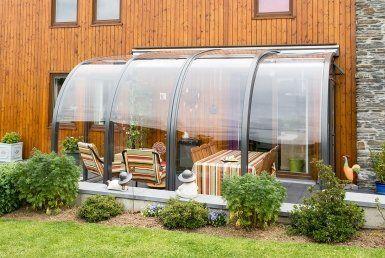 Retractable Terrace Sunroom Telescopic Garden Sun Room Greenhouse Right Angle Shape In 2020 Patio Enclosures Glass House Garden Patio