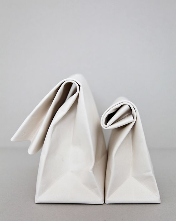 Pure white leather sandwich bags. Gorgeous.