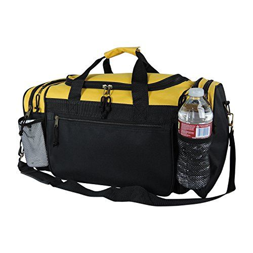 DALIX 19 Gym Duffel Bag With Water Bottle Valuables Side Pockets In Gold And Black Amazon Dp B00TKJVOKM Refcm Sw R Pi M