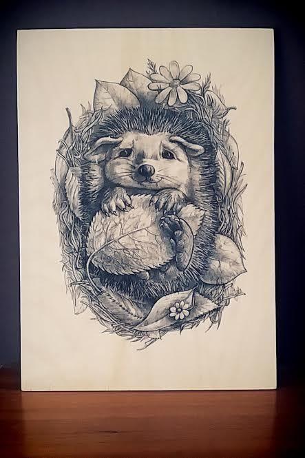 cute hedgehog, hand print on plywood sheet size A4
