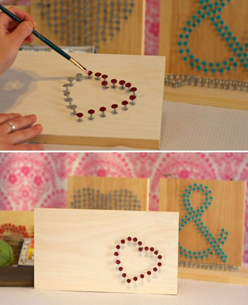Create a shape with nails then paint the heads. What an easy dorm decor craft! | weddingwindow.com