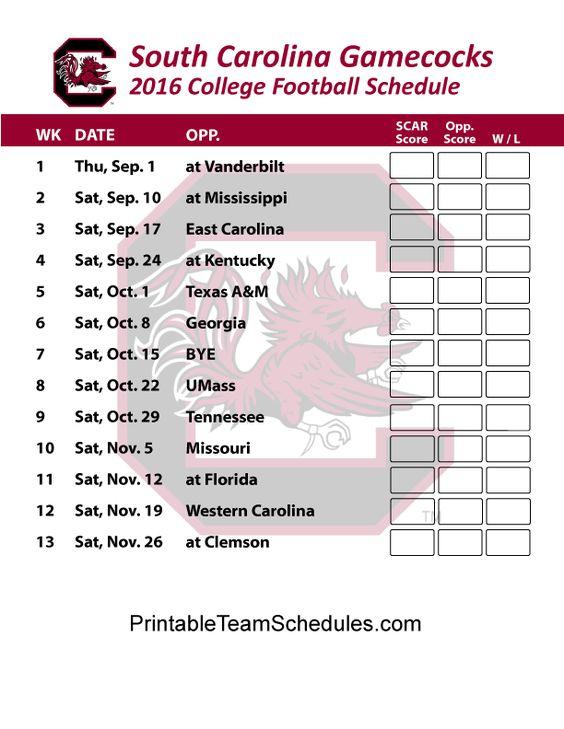 South Carolina Gamecocks Football Schedule 2016. Printable Schedule Here - http://printableteamschedules.com/collegefootball/southcarolinagamecocks.php
