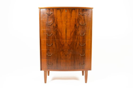 DANISH MODERN BOW FRONT HIGHBOY DRESSER IN ELM • Mid Century Mobler
