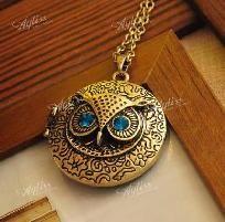 Retro/Antiqued, Bronzed, Blue Rhinestone Eye Owl Locket Necklace *PHOTONS/FREE SHIPPING/I PAY SLICE*