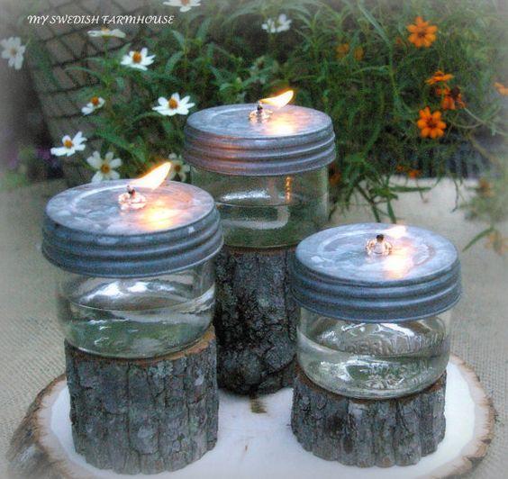 Table Centerpiece Rustic Wedding Decor Mason Jar Oil Lamps