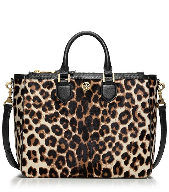ROBINSON CALF HAIR SQUARE TOTE - SNOW LEOPARD - christmas 2014